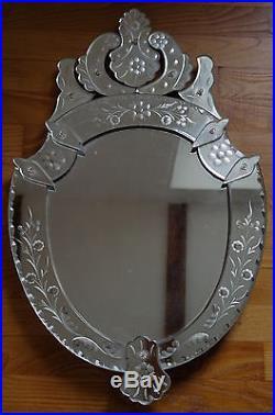 Ancien Miroir Vénitien Glace Baroque Murano Vintage Venitian Mirror