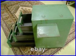 Ancien casier tole 3 tiroirs 1 tablette Meuble métier industriel rangement