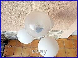 Ancien grand lampadaire métal/chrome-4 boules-sur pied-vintage 1970-laqué blanc