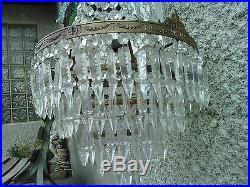Ancien lustre a pampilles suspension
