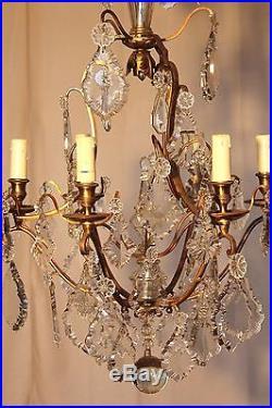 Ancien lustre cage pampilles cristal à 7 lumières époque début XX ème siècle