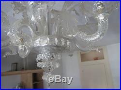 Ancien lustre en verre de murano feuilles et fleurs old glass chandelier