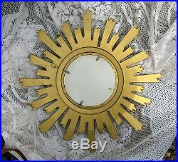 Ancien miroir soleil oeil de sorcière résine dorée vintage D. 60 cm