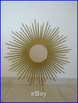 Ancien miroir soleil signe CHATY VALLAURIS bombe sorciere old mirror sunburst