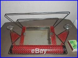 Ancien porte-manteau miroir étagère vintage MATHIEU MATEGOT design rouge et noir