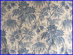 Ancien (très) grand double rideau, tissu indienne bleu, 1920-1940