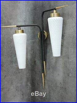 Ancienne Lampe Applique Vintage Design Arlus / Lunel