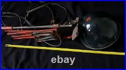 Ancienne Superbe Lampe D'atelier Accordéon Zigzag Design Art-déco rouge noir 2kg