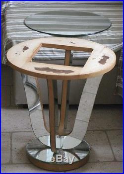 Ancienne Table basse Guéridon bois et miroir Art Déco