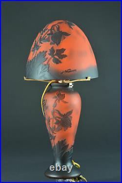 Ancienne grande lampe de table verrerie de Vianne Pâte de verre Iris st. Gallé
