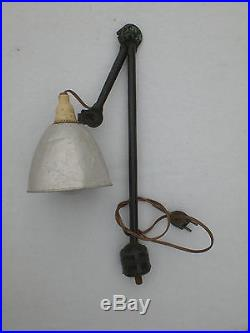 Ancienne lampe d'atelier industriel Gras Ravel clam déco loft