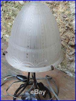 Ancienne lampe fer forgé et abat jour verre Muller Frères Luneville french lamp