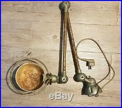 Ancienne lampe industrielle JIELDE 2 Bras design Année 50 / Usine Metal