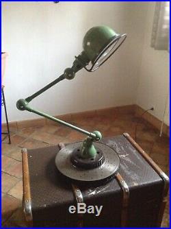 Ancienne lampe vintage Jielde 2 bras sur socle usine atelier industriel