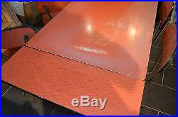 Ancienne table et 4 chaises en formica vintage design 1960 rouge et metal