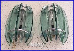 Anciennes Appliques Veca Fontana Arte verre et métal chromé vintage Années 60