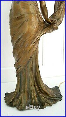 Antique French Jugendstil Art Nouveau Loïe FULLER Spelter Bronze Lamp L. ALLIOT