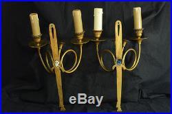 Applique Bronze Doré Style LOUIS XVI COR DE CHASSE Antique Sconce hunting horn