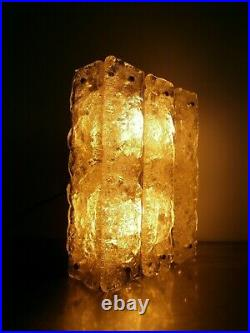 Applique Luminaire 1970 Ancien Deco Verre Souffle Murano Metal Chrome Lampe 3