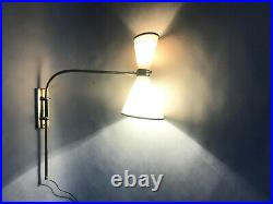 Applique lampe luminaire sconce 1950s potence deco mid century french