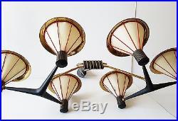 Arlus Exceptionnel Plafonnier Geant Aux 6 Lanternes 1950 Vintage Chandelier