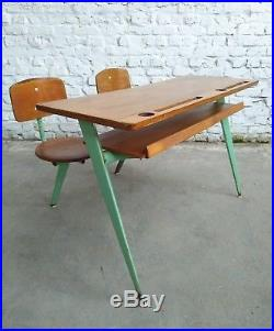 Ateliers Jean Prouvé Pupitre Biplace Modele 850 Bureau School Desk Compass 1952