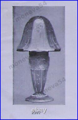 Aubin Ollier Lampe Champignon Art Déco En Verre Moulé Pressé Et Fer Forgé 1930