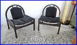 BAUMANN France vers 1980 Paire de fauteuils Argos design armchairs