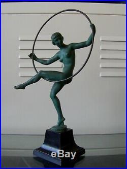 BRIAND Danseuse au cerceau art deco Max Le Verrier / Bouraine