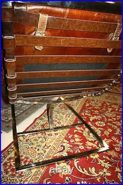 Banquette / Chaise de relaxation en cuir matelassé cigare et pied inox