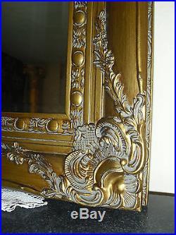 Beau Miroir Mural Ou Cheminée En Bois Doré Style Baroque Louis XV D'un Chateau