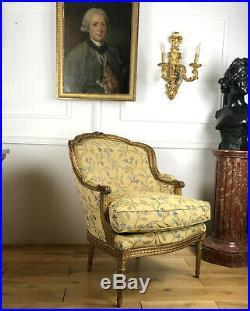 Bergere Ancienne De Syle Louis XVI En Bois Doré Et Sculpté A Dossier Gondole