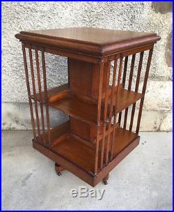 Bibliothèque tournante ancienne bookcase table meuble porte disque