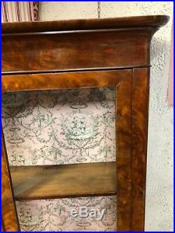 Bibliothèque / vitrine d'époque Louis Philippe en placage d'acajou