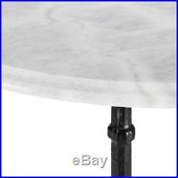 Blumfeldt Table bistrot vintage ronde en marbre blanc Ø 60 cm pied solide fonte