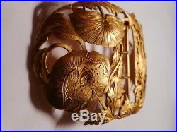 Boucle ceinture ancienne art nouveau 1900 sculpture fleur dragon bronze laiton