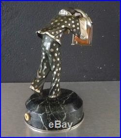 Bronze Art Deco Guiraud Riviere Pierrot A La Lanterne Veilleuse Mascotte