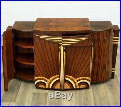 Buffet Commode Style Art Deco En Marqueterie Palissandre Noyer Loupe D'orme
