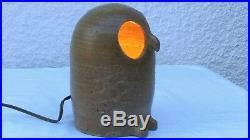 CHARMANTE LAMPE ZOOMORPHE EN CERAMIQUE CHOUETTE LA BORNE vers 1960
