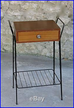 CHEVET VINTAGE, très joli chevet des années 1960, 1 tiroir, Jacques Hitier, DESIGN
