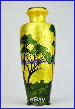 Camille Fauré Limoges Vase Émaillé Paysage Japonisant Art Déco Émaux d'Art Signé