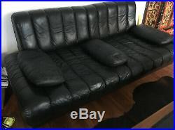 Canapé design De Sede DS85 cuir noir 1960