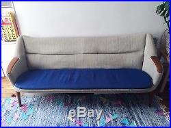 Canapé vintage scandinave années 1950-1960 gris et bleu