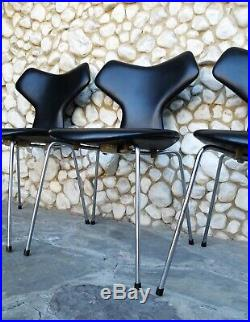 Chaise Grand Prix chair Arne Jacobsen for Fritz Hansen cuir noir black leather