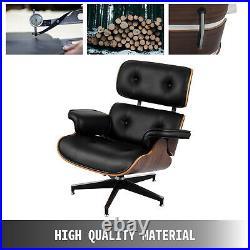 Chaise Lounge et Ottomane en Cuir PU Contreplaqué de Noix Chaise Tabouret Salon