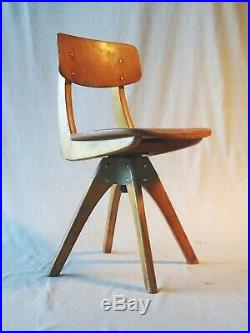Chaise bienaise pour enfant, rotative de type industriel 1960 design rare
