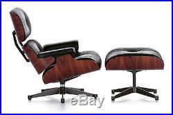 Chaise longue design rétro iconique et tabouret de bois de rose Cuir Noir