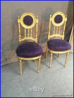 Chaises de musique (la paire) en bois doré garnis de tissu