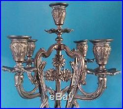 Chandelier/bougeoir/candélabre Ancien Art Nouveau En Regule