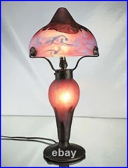 Charles Schneider Sublime Lampe Champignon Marbré vase Le Verre Français Daum